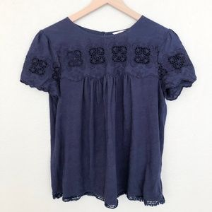 Boden Navy Embroidered Short Sleeve Blouse